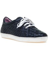 Robert Zur - Terri Tie Navy Woven Leather Sneaker - Lyst