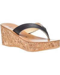 K. Jacques - Diorite Platform Thong Black Leather - Lyst