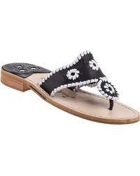 Jack Rogers - Palm Beach Thong Sandal White/black Leather - Lyst