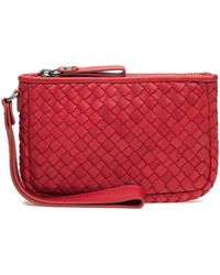 Robert Zur - Maya Small Clutch Wallet Red Woven Leather - Lyst
