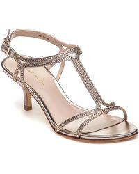 Pelle Moda - Abbie 2 Gold Leather Embelished Evening Sandal - Lyst