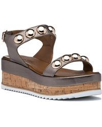 275 Central - 8825 Sandal Pewter Leather - Lyst
