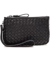 Robert Zur - Maya Small Clutch Wallet Black Woven Leather - Lyst