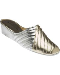 Jacques Levine 1221 Gold and Silver Leather Slippers - Metallic