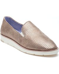 Johnston & Murphy - Paulette Perforated Gold Leather Slip On - Lyst
