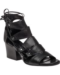 275 Central   1611 Black Leather Caged Sandal   Lyst