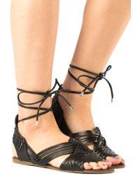 J/Slides - Hipster Black Leather Lace Up Sandal - Lyst
