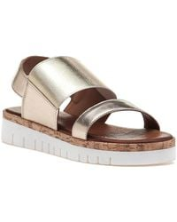 275 Central - 7919 Gold Leather Sandal - Lyst