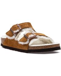 Birkenstock Arizona Shearling Sandal Tan Suede - Brown