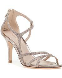 f9b2afc58aa0 Pelle Moda Ava Jeweled Metallic Leather and Suede Peep Toe Sandal ...