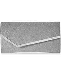 Jimmy Choo Erica Silver Fine Glitter Leather Clutch Bag - Metallic