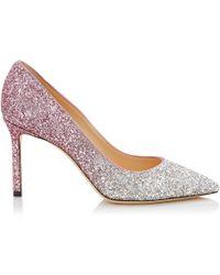 Jimmy Choo - Romy 85 Platinum And Flamingo Ice Glitter Dgrad Fabric Pointy Toe Pumps - Lyst