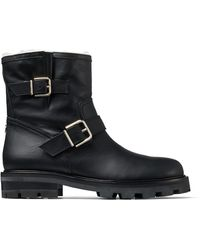 Jimmy Choo Youth Ii Buckled Shearling-lined Leather Ankle Boots - Black