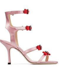 a85db25f22e36 Jimmy Choo Letrice 85 Pink Satin Strappy Sandals With Grossgrain And Crystal  Bows