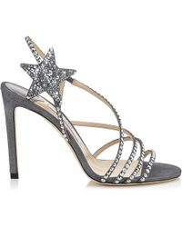 89fc3040fe81 Jimmy Choo - Lynn 100 Anthracite Shimmer Suede Sandals With Hotfix Crystals  Anthracite 34 - Lyst