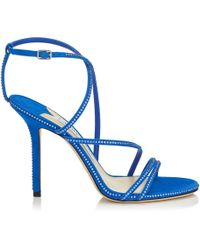 9079f4e0cc4e Jimmy Choo - Dudette 100 Electric Blue Suede Open Toe Sandal With Hotfix  Jewel Trim -