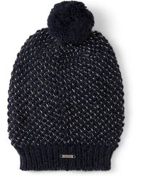 Jimmy Choo Vida Navy Blended Wool Knit Hat - Blue