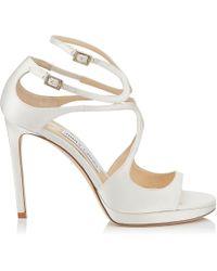 5029f07143a Lance/pf 100 Ivory Satin Strappy Sandals Ivory 34 - White
