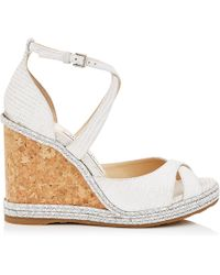 Jimmy Choo - Alanah 105 Latte Snake Embossed Leather Wedges With Braid Trim Wedge - Lyst