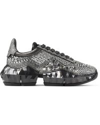 Jimmy Choo Diamond/f Smoke Metallic Suede Low Top Trainers With Chunky Sole And Crystal Application Smoke 35 - Gray