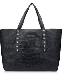 Jimmy Choo - Pimlico Navy Crocodile Embossed Satin Leather Tote Bag With Star Trim - Lyst