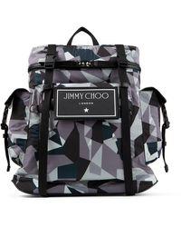Jimmy Choo Wixon Anthracite Camo Print Nylon Backpack Metallic One Size - Multicolor