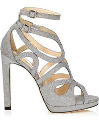 Jimmy Choo - Leo 120 Silver Fine Glitter Leather Platform Sandals - Lyst