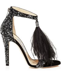 Jimmy Choo - Viola 110 Black Suede And Jet Mix Hotfix Sandals With Ostrich Feather Tassel - Lyst