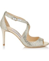 Jimmy Choo - Emily 85 Sandales Avec toffe Paillete Champagne Champagne 34 - Lyst