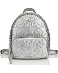 Jimmy Choo Helia Backpack Sac Dos En Cuir Nappa Matelass Anthracite Anthracite One Size - Métallisé