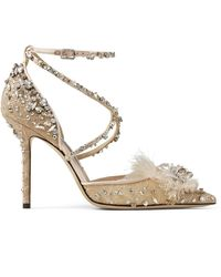 Jimmy Choo Odette 100 Ballet-pink Lace Wraparound Heels With Feather And Crystal Embellishment