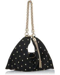 Jimmy Choo Tasche Callie aus schwarzem Wildleder mit Kristallen