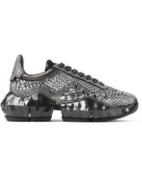 Jimmy Choo Diamond/f Smoke Metallic Suede Low Top Sneakers With Chunky Sole And Crystal Application Smoke 35 - Gray