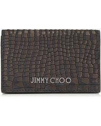 Jimmy Choo Belsize Porte-Cartes En Cuir Nubuck - Noir
