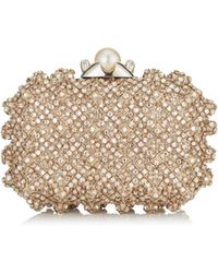 Jimmy Choo - Cloud Pearl Satin Clutch Bag With Crystal Bead Embroidery - Lyst