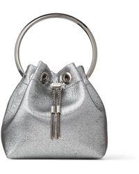 Jimmy Choo Bon Bon Gunmetal Metallic Fabric Bag With Metal Handle