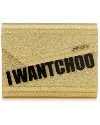 Jimmy Choo - Candy Gold I Want Choo Glitter Acrylic Clutch Bag - Lyst