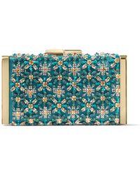 Jimmy Choo J Box Pochette En Satin Bleu Sarcelle Fonc Orn De Broderies De Cristaux Bleu Sarcelle Fonc/Multicolore One Size