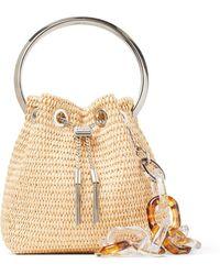 Jimmy Choo Bon Bon Natural Woven Raffia Bag With Tortoiseshell Resin Chain