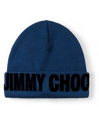 Jimmy Choo Fran Bonnet En Laine Douce - Bleu