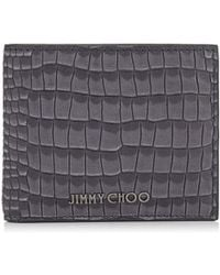 Jimmy Choo - Mark Slate Crocodile Printed Nubuck Leather Bi-fold Wallet - Lyst