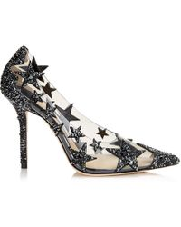 Jimmy Choo - Lisha 100 Black And Smoke Mix Plexi Star Patchwork Pointy Toe Pumps With Crystals - Lyst
