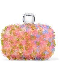 Jimmy Choo Cloud Pochette De Soire En Satin Recouvert De Broderies Florales Multicolores Mix Rose Bubble Gum