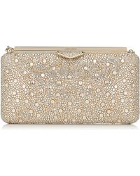 Jimmy Choo - Ellipse Gold Mix Clutch Bag In Suede With Crystal Mix - Lyst