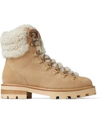 Jimmy Choo Eshe Lace-up Shearling And Suede Hiking Boots - Natural