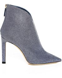 Jimmy Choo - Bowie 100 Stone Blue Fine Glitter Fabric Pointed Toe Booties With Plexi Insert - Lyst