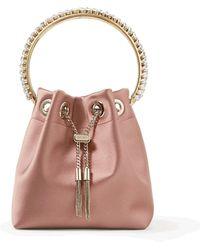 Jimmy Choo Bon Bon Embellished Satin Top Handle Bag - Pink