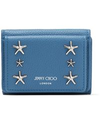 Jimmy Choo Nemo Butterfly Blue Soft Grainy Calf Card Holder With Stars