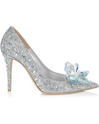 Jimmy Choo Avril Crystal Covered Pointy Toe Pumps Crystal 34 - Metallic