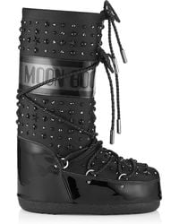 Jimmy Choo Mb Classic Black Patent And Fabric Moon Boot® With Crystals And Stars Embellishment